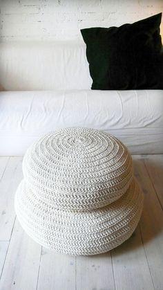 Floor Cushion Crochet ecru by lacasadecoto on Etsy