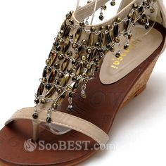 Bohemian Style Metal Decorative Vintage Beaded Comfortable Wedged PU Leather Roman Sandals 1000681 - SooBEST