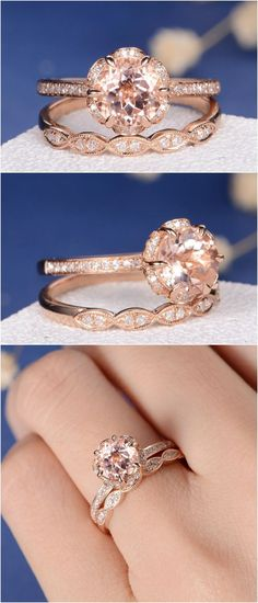 Unique Morganite Bridal Set Engagement Ring Rose Gold Flower Art Deco Eternity Wedding Band Dainty Pave Antique Diamond Stacking Anniversary