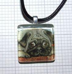 Snug pug square glass tile pendant wearable art by tanyabond Glass Tile Pendant, Wearable Art, Flask, Pugs, Pug Dogs, Pug, Pug Life