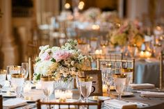 Romantic Wedding. Gold accents. Always like the picture frame idea, but in gold.