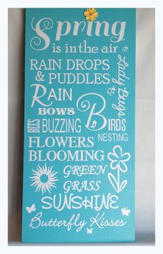 Spring Subway ArtWood Sign by CherryChipCafe on Etsy