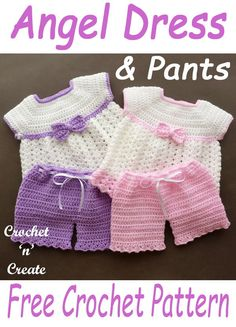 Angel Dress-Pants Baby Set Find this beautiful FREE baby angel dress a. Angel Dress-Pants Baby Set Find this beautiful FREE baby angel dress and pants set pattern on crochetncreate. Crochet Baby Sweaters, Knitted Baby Clothes, Baby Doll Clothes, Crochet Doll Clothes, Baby Knits, Barbie Clothes, Knitting Dolls Clothes, Crochet Dolls, Crochet Baby Dress Free Pattern