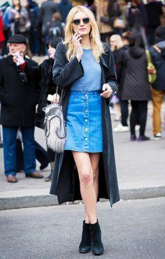 Denim Skirt, Plain Tee, Longline Jacket & Fur Bag Outfit