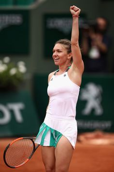 Simona Halep Photos Photos - Simona Halep of Romania celebrates victory in the ladies singles third round match against Daria Kasatkina of Russia on day seven of the 2017 French Open at Roland Garros on June 3, 2017 in Paris, France. - 2017 French Open - Day Seven