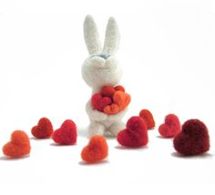 Easter felt bunny mothers day   needle felted rabbit    by vilnone