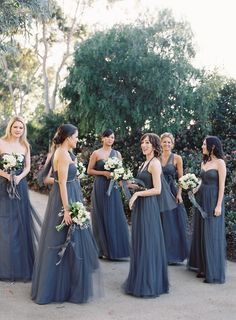 San Francisco Wedding at Bluxome Street Winery Soft navy bridesmaid gowns. Annabelle' style in charcoal gray by JENNY YOO. Annabelle' style in charcoal gray by JENNY YOO. Grey Blue Bridesmaid Dresses, Black Bridesmaid Dresses, Wedding Bridesmaids, Multiway Bridesmaid Dress, Bridesmaid Flowers, Blue Wedding, Summer Wedding, Charcoal Wedding, Elegant Wedding