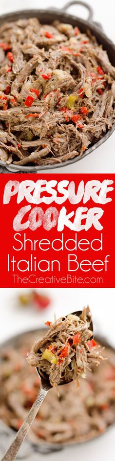 Pressure Cooker Shredded Italian Beef is an easy no fuss Instant Pot recipe made with simple ingredients! Serve this beef along with your favorite veggies for a healthy low-carb dinner idea or pile it high on fresh buns for a delicious sandwich! #PressureCooker #InstantPot