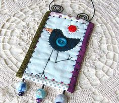 miniature quilt  wall hanging  blue bird  whimsical  by gonetoseed, $20.00