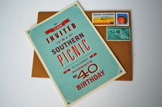 40 Southern Picnic Birthday Bash - The Sweetest Occasion Picnic Theme, Picnic Birthday, 40th Birthday Parties, 60th Birthday, Birthday Party Invitations, Picnic Style, Picnic Parties, Birthday Celebration, Unique Birthday Party Ideas
