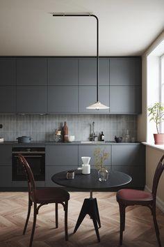 Kitchen Room Design, Modern Kitchen Design, Home Decor Kitchen, Interior Design Kitchen, Grey Kitchens, Home Kitchens, Grey Kitchen Furniture, Voxtorp Ikea, Kitchen Images