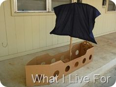 """Love this pirate boat and reminded me that I """"owed"""" My kids a pirate ship..  (via http://www.redtedart.com/2012/04/11/kids-crafts-spring-colours/)"""