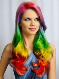 Rainbow colored hair has been tickling our colors fancy as of late. Before you start coloring your hair with rainbow hair color Pelo Multicolor, Ombre Highlights, Front Hair Styles, Hair Front, Coloured Hair, Crazy Hair, Ombre Hair, Red Ombre, Hair Dos
