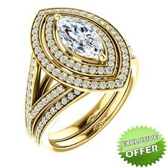 10kt Yellow Gold 10x5mm Center Marquise Imitation Diamond and 98 Accent Round Diamonds Bridal Ring Set...(ST122580:1168:P).! Price: $899.99 #diamonds #yellowgold #bridalringset #gold #marquise #fashion #Jewelry #Ringset #Rings #Love