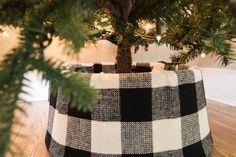 DIY Buffalo Check Tree Collar | The Creek Line House Christmas Tree Base, Rustic Christmas, Christmas Time, Christmas Crafts, Christmas Decorations, Xmas, Christmas Ornaments, Christmas Fabric, Holiday Decorating
