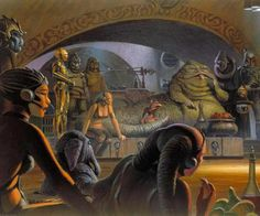 Jabba's Palace - See the Concept Art For the Original Star Wars Movie Trilogy by Ralph McQuarrie Ralph Mcquarrie, Star Wars Concept Art, Star Wars Art, Starwars, Boba Fett Costume, Star Wars Planets, Jabba The Hutt, Star Wars Kylo Ren, Cinema