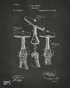 1883 Wine Corkscrew Patent Artwork - Gray  Copyright Nikki Smith, All Rights Reserved (pins OK!)  This fine art print is at home in kitchens, wineries, bars and restaurants, displaying your love of fine wine with a sense of history sure to start conversations. Fine art prints on canvas, metal, paper and acrylic available in a variety of styles including vintage, black & white, blueprint and red here: http://nikkimarie-smith.artistwebsites.com