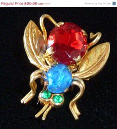 ON SALE Vintage Czech Fly Insect Pin Ruby by PattycatsTreasures, $18.00