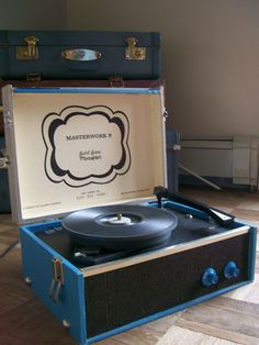 Vintage Masterwork Record Player - Blue, Cream - Solid State Phonograph - Suitcase Type