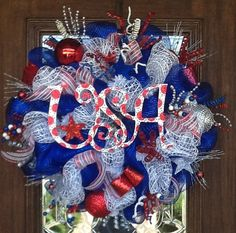 Shop for wreath on Etsy, the place to express your creativity through the buying and selling of handmade and vintage goods. Frame Wreath, Diy Wreath, Wreath Ideas, Patriotic Wreath, 4th Of July Wreath, Mesh Ribbon Wreaths, Burlap Wreaths, Holiday Wreaths, Holiday Crafts