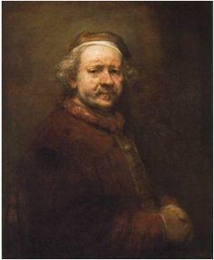 렘브란트, <63세의 자화상>, 1669 전체적으로 어두운 인물과 배경의 색감과 표정들이 화가의 힘들었던 시절에 대한 모습을 보여주며, 운명에 대한 체념, 냉소마저 엿보인다.