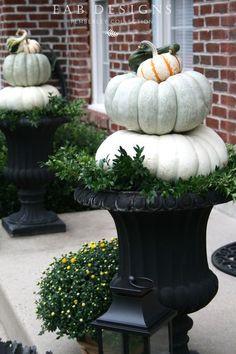 Pumpkin Urns #fallporch #pumpkintopiary #falldecor eabdesigns.typepad.com