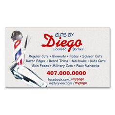 Barber Business Card (Barber pole & shears) Business Card Templates