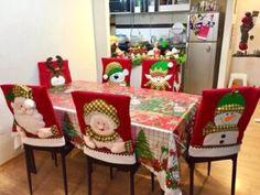 Felt Christmas, All Things Christmas, Christmas Crafts, Christmas Chair Covers, Silverware Holder, Christmas Tree Decorations, Diy And Crafts, Holiday, Handmade
