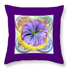 "Purple Spiral Throw Pillow 14"" x 14"" by Pamela Walton"