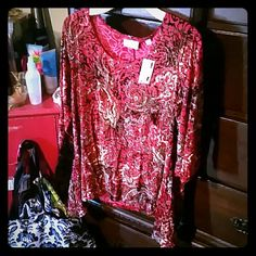 A shimmery gold/red/black blouse Brand new. No known rips or strains. Tag says 14 / 16 Avenue  Tops Blouses