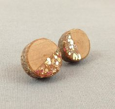 half gold glitter wooden slice studs by thebeadsmiths on Etsy, $6.00