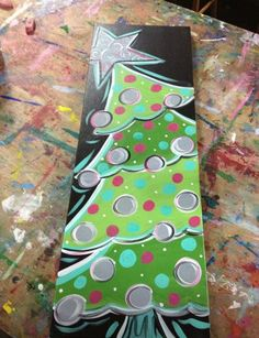 DIY painting idea Christmas tree by Wendy sherman Noel Christmas, Christmas Signs, Christmas Projects, Holiday Crafts, Christmas Decorations, Christmas Ornaments, Christmas 2019, Christmas Paintings On Canvas, Christmas Tree Painting