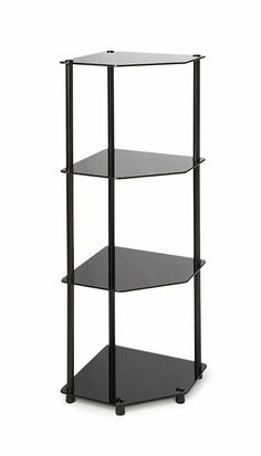 The 4 Tier Corner Shelf is the perfect compliment to any living room decor. Featuring an open modern design that provides 4 spacious black glass shelves for decoration, collections or art objects. This piece will surely provide years of enjoyment.