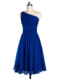 Pretty Royal Blue Tea Length One-shoulder Cocktail Bridesmaid Dress @Stephanie Close Francis Cadwell