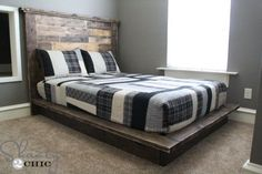 Easy DIY platform bed that anyone can build. Free plans here. Diy Platform Bed Frame, Build A Platform Bed, King Platform Bed, Diy King Bed Frame, Bed Frame Plans, Industrial Style Bedroom, Industrial Lamps, Industrial Furniture, Vintage Industrial