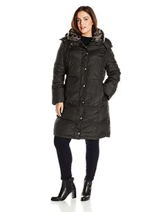 London Fog Womens PlusSize Mid Length Down Coat Black 2X * Be sure to check out this awesome product.