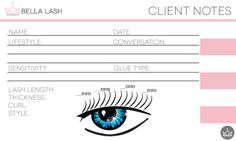 Keep your eyelash extension clients organized with a client note card. You can pull your clients charts prior … Continue reading Bella Lash Client Card