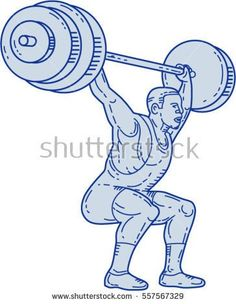 Mono line style illustration of a weightlifter lifting barbell weights with both hands set  on isolated white background.  #weightlifter #monoline #illustration