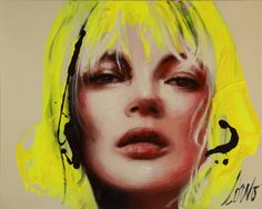 Kate Moss with neon yellow hair.