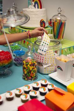 Rainbow Birthday Ideas - Find more Rainbow Party Ideas at http://www.birthdayinabox.com/party-ideas/guides.asp?bgs=189
