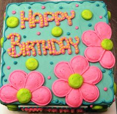 Pink flowers for pre-teen birthday cake by Cake All Things Yummy, Kernersville, NC Más Birthday Sheet Cakes, Birthday Cakes For Teens, Happy Birthday Cakes, Cake Birthday, Birthday Ideas, Pastel Rectangular, Sheet Cake Designs, Birthday Cake With Flowers, Flower Birthday