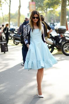 Baby blue look, just beautiful! Thassia Naves from Blog da Thassia. #fashion #beauty #brazilianness www.brazilianness.com
