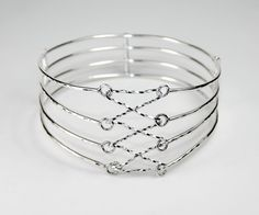 Hallmarked 925 Sterling Silver Four Strand Laced Corset Bangle by WovenArtJewellery on Etsy
