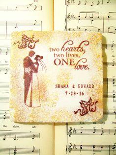 Wedding Coasters, Silhouette Bride and Groom, Wedding Gift Coaster Set of 4 Personalized Wedding Gift Set, Wedding Bridal Registry