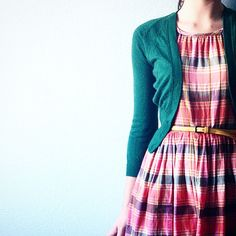 Nothing cuter than a plaid belted dress and teal cardigan!