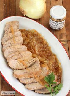 Ternera blanca asada con salsa de cebolla confitada a la mostaza. Receta
