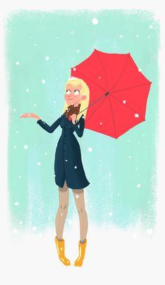 Snow, Girl Illustration, red umbrella / Neve, Illustrazione ragazza, ombrello rosso - Art by Joe Lee Blog