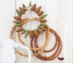 I am making a nut circle like the ones in the picture for the hall door - I'll wind a ribbon around it and tie it in a bow at the top, making a loop to hang it from.