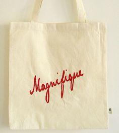 Tote deep pink silk screened print 'Magnifique'. door HappySweaters, €7.00