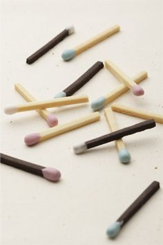 matchstick cookies...no way! (no recipe-I'd use the pringles snack sticks and dip the ends in melted chocolate....)